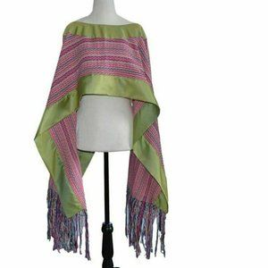 Mexican Shawl Handwoven Poncho Pink & Green OS